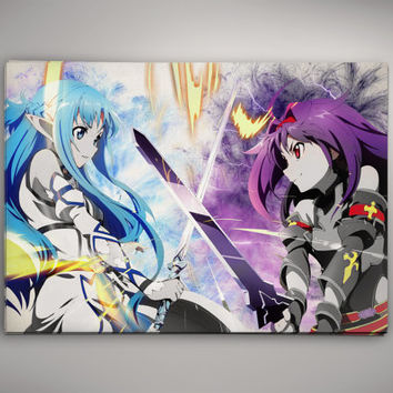 Sword Art Online Asuna vs Yuuki SAO Anime Manga Watercolor Print Poster  No685