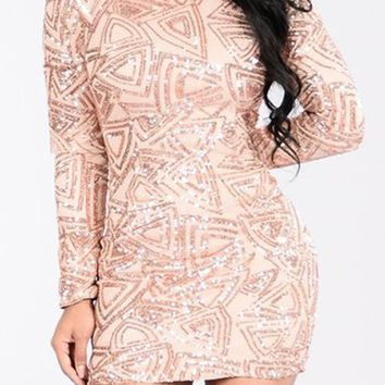 Streetstyle  Casual Light Pink Geometric Sequin Print Backless Slim Bodycon CLubwear Mini Dress