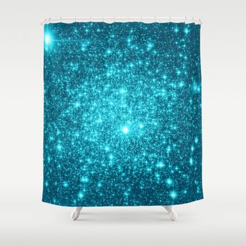 Turquoise Teal Sparkle Stars Shower Curtain by WhimsyRomance&Fun