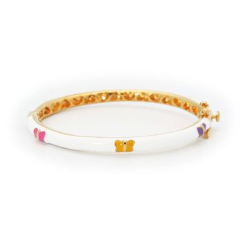 BecKids White Enamel Bangle Bracelet for Girls with Colorful Butterflies
