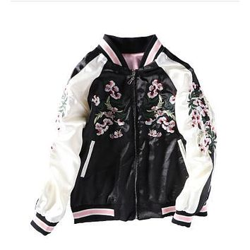 Reversible Pink Sakura Embroidery Satin Jacket