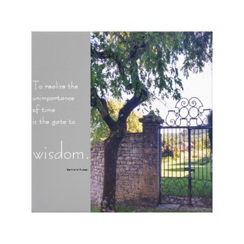 Picturesque gate and inspirational quote canvas print