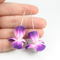 Iris flower earrings - handmade polymer clay earrings - floral jewelry - polymer clay jewelry