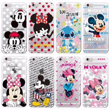 For iPhone 5 6 7Plus 8 8Plus X Samsung Minnie Mickey Cartoon  Stitch Piglet Daisy Pooh Bear Characters Soft Phone case Cover