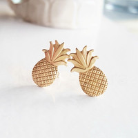 Pineapple Earrings,Gift for Her,Golden Brass Pineapple Stud Earrings,Exotic Fruit Jewelry,Sterling Silver Hypoallergenic Studs (E257)