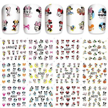 12 sheets water decal nail art decorations nail sticker tattoo full Cover beauty Mickey design Decals manicure supplies A361-372