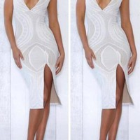 White Geometric Print Slit Side Deep V-neck Bodycon Party Midi Dress
