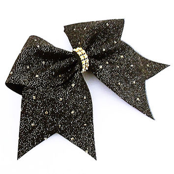 Cheer bow, Black cheer bow, gold glitter cheer bow, cheerleading bow, cheerleader bow, soft ball bow, pop warner cheer bow, cheerbow