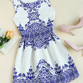 White Sleeveless Tribal Print Embossed Zip Back Dress