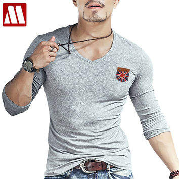 New Arrivals Men's British Flag Hand-stitched Design T shirt Hipster Tops Long Sleeve Fake Leather Pocket tshirts