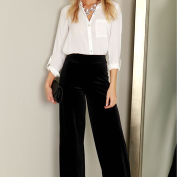 High Waisted Velvet Pants Black