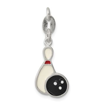 925 Sterling Silver Polished Enamel Bowling Charm and Pendant