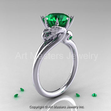 Art Masters Scandinavian 14K White Gold 3.0 Ct Emerald Dragon Engagement Ring R601-14KWGEM