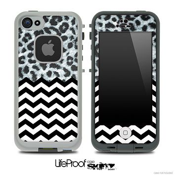 Mixed Real Leopard and Chevron Pattern Skin for the iPhone 5 or 4/4s LifeProof Case
