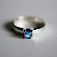 Moonstone Solitaire in Sterling Silver