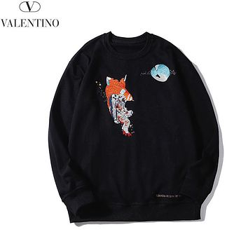 Victoria Autumn And Winter New Fashion Embroidery Letter Leisure Women Men Long Sleeve Top Sweater Black
