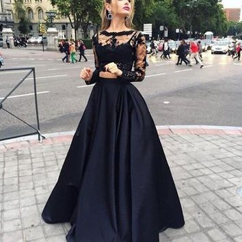 Sexy Black Two Pieces Prom Dresses 2017 A Line O Neck Long Sleeves Evening Dress Appliques Lace Satin Women Formal Prom Gown