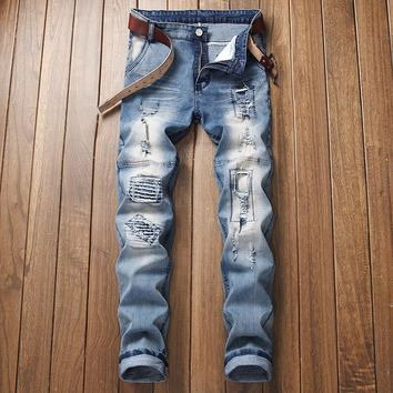 Ripped Holes Ruffle Jeans [3444982251613]