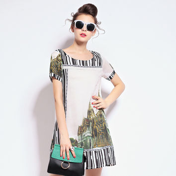 Building Print Striped Short Sleeve Dress