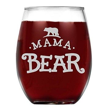 Shop4Ever Mama Bear Laser Engraved Stemless Wine Glass ~ Gift for Mom ~ 15 oz Stemless