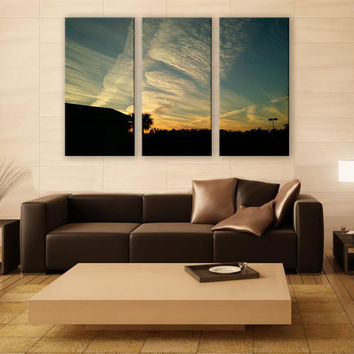 Alabama Gulf Coast Sky Clouds Print 3 Panels Print Wall Decor Fine Art Landscape Photography Repro Print for Home and Office Wall Decoration
