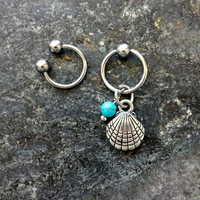Mermaid Shell & Turquoise - 20g 18g 16g 14g CBR / BCR Bead Captive Ring Horseshoe Piercing Jewelry Hoop ( Helix Tragus Orbital )