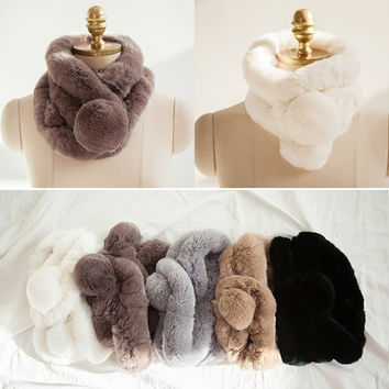 Women Whole set rabbit skin Rex rabbit fur scarf Real Natural Rabbit Fur Scarves