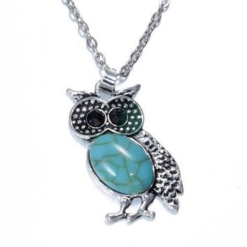 Turquoise Style Owl Necklace