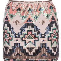 Ladies Womens Sequin Aztec Mini Skirt Sizes Sizes 8-14