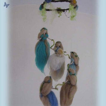 Fairy Mobile, waldorf inspried, needle felted,