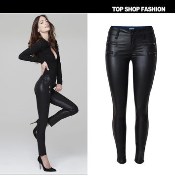 Hot Sale Women's Fashion Low Waist Slim PU Leather Zippers Pants [6365923332]