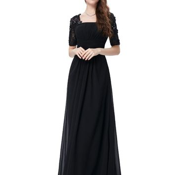 Half Sleeve Evening Dresses Square Neck Chiffon Prom Gown Formal Party Dress Women Caftan Lace Long Black Evening Dress