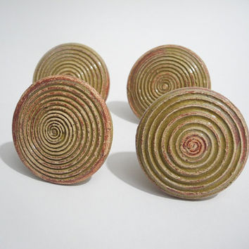 Ceramic Door Knobs, Cabinet Pulls,  Drawer Handles Handmade Pottery in Oregano Green and Beige