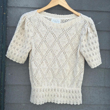 Vintage 70's 80's Darling CREAM Puff Sleeve peekaboo SOFT crochet Knit summer Sweater top