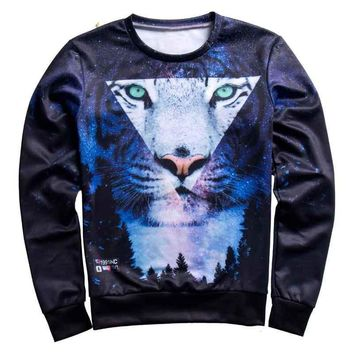 Galaxy Cat Nightfall Trees All Over Print Sweat Shirts - Men's Crew Neck Novelty Pullover