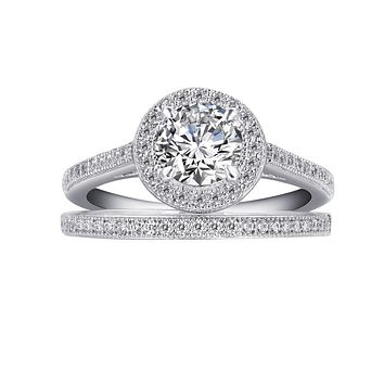 Lafonn Classic Sterling Silver Platinum Plated Lassire Simulated Diamond Engagement Ring Set (1.49 CTTW)