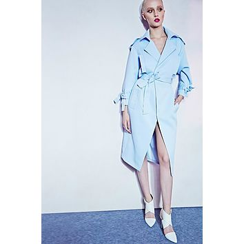 Hot sale 2016 new  Women Blue Slim Trenchcoat Fashion Turn-Down Collar Three Quarter Coat Trench
