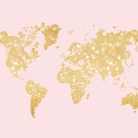 Gold sparkle world map Art Print by blursbyaiShop | Society6