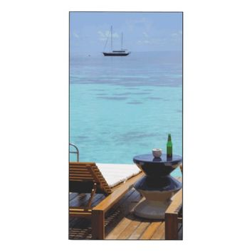 Blue Sky Beach Chair Tropical Paradise Maldives Wood Wall Art