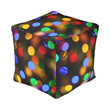 Multicolored Christmas lights. Pouf