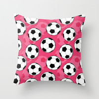 Soccer Ball Pattern with Pink Background Throw Pillow by Doodle's Designs