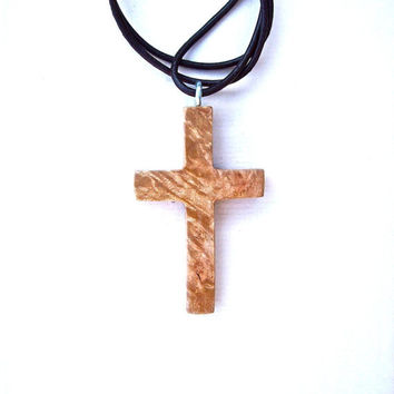 Wood Jewelry, Wood Carved Cross, Maple Burl Cross Pendant, Christian Pendant, Wood Pendant, Religious Jewelry, Handmade Pendant