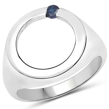 LoveHuang 0.06 Carats Genuine Blue Sapphire Ring Solid .925 Sterling Silver With Rhodium Plating