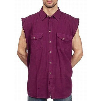 Mens Motorcycle Biker Shirt Burgundy Cut Off Sleeveless Cotton Denim Button up