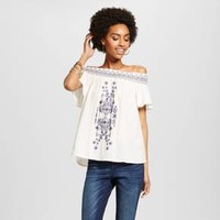 Women's Embroidered Off the Shoulder Top - Xhilaration™ (Juniors')