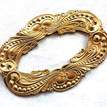 1 large oval frame, Ornate Victorian raw brass stamping, pendant, connector, ornament, component 65mm x 47mm, made in the USA C87101