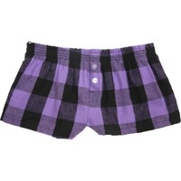 Boxercraft Vivid Violet Flip Down Waistband Bitty Boxer Shorts for Exercise, Lounge, Sports, Teams -Violet/Black