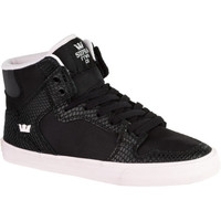 Supra Vaider High Top Skate Shoe - Women's Black Leather/Black And White Print,