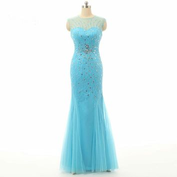 Beaded Tulle Floor Length Party Dresses Long Mermaid Evening Dress