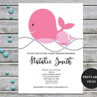 Whale Baby Shower Invitation Printable Girl Baby Shower Invitation Nautical Baby Shower Invites Template Pink Gray  (v41)